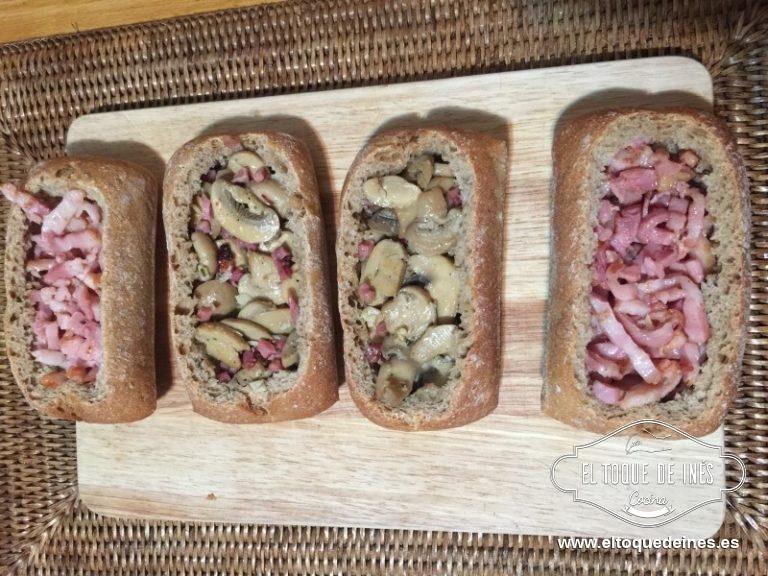 Rellenamos cada pan con la mezcla, cada uno a su gusto.