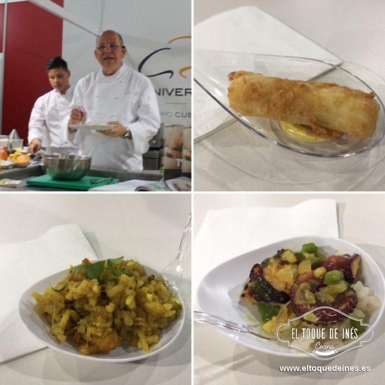 Y seguimos con degustaciones...esta vez a cargo del chef Charlie Collins, de Panamá, que era el país invitado a Xantar. Realizaron Yuca empanada en coco, harina de maíz acompañada de curry y aji chombo; arroz con bacalao y rabo de cerdo al curry; pulpo al curry con arroz de coco.