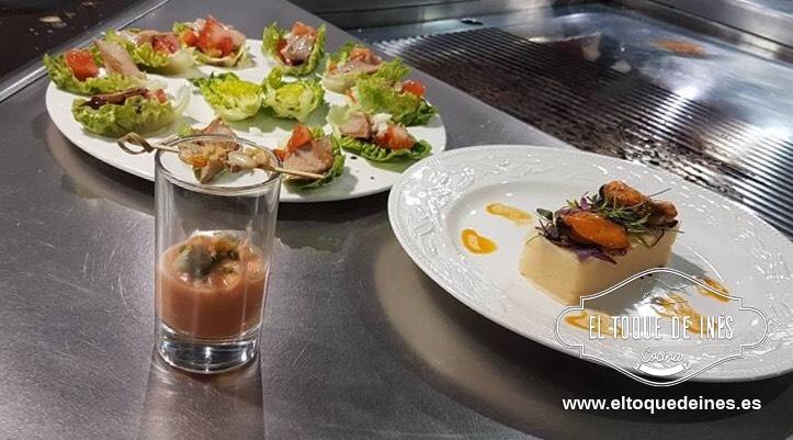 Mis platos fueron: Ensalada de patata con mejillones en escabeche, salmorejo acompañado de berberechos y ventresca de atún con vinagreta y semillas de tomate.